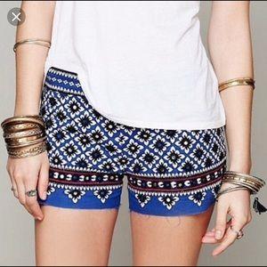 Free People One Boho Embroidered Shorts - size 6